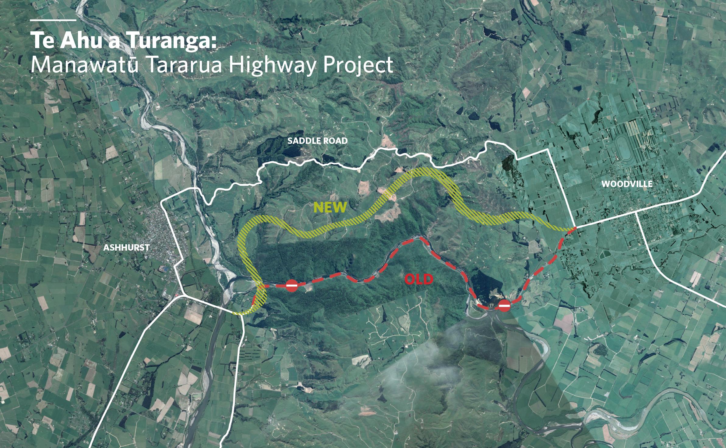 Te Ahu and Turanga: Manawatū Turanga Highway map